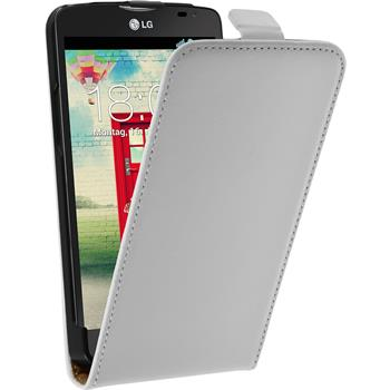 Artificial Leather Case for LG L80 Dual Flipcase white