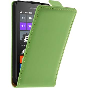 Artificial Leather Case for Microsoft Lumia 430 Dual Flip-Case green