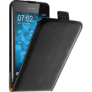 Artificial Leather Case for Microsoft Lumia 650 Flip-Case black + protective foils