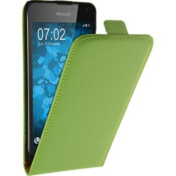 Artificial Leather Case for Microsoft Lumia 650 Flip-Case green + protective foils