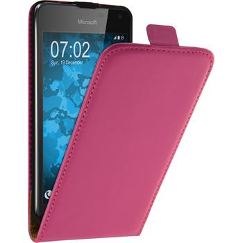 Artificial Leather Case for Microsoft Lumia 650 Flip-Case hot pink + protective foils