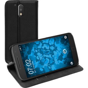 Artificial Leather Case for Motorola Moto G4 Bookstyle black + protective foils