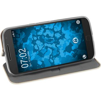 Artificial Leather Case for Motorola Moto G4 Etui gold + protective foils