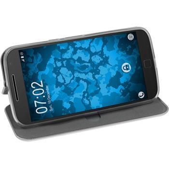 Artificial Leather Case for Motorola Moto G4 Plus Etui gray + protective foils