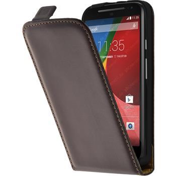 Artificial Leather Case for Motorola Moto G 2014 2. Generation Flipcase brown