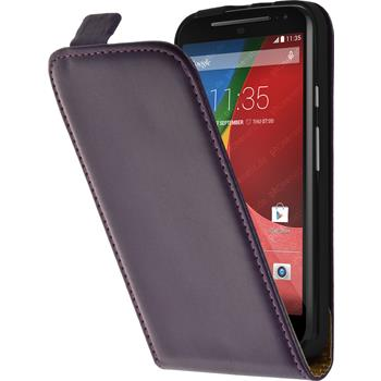 Artificial Leather Case for Motorola Moto G 2014 2. Generation Flipcase purple