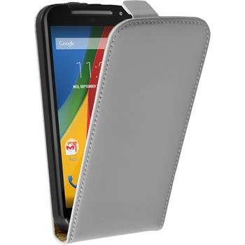 Artificial Leather Case for Motorola Moto G 2014 2. Generation Flipcase white