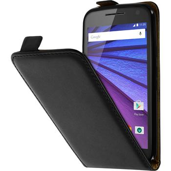 Artificial Leather Case for Motorola Moto G 2015 3. Generation Flip-Case black