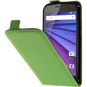 Artificial Leather Case for Motorola Moto G 2015 3. Generation Flip-Case green