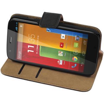Artificial Leather Case for Motorola Moto G Wallet black