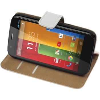 Artificial Leather Case for Motorola Moto G Wallet white