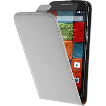Artificial Leather Case for Motorola Moto X 2014 2. Generation Flipcase white