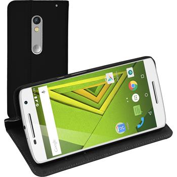 Artificial Leather Case for Motorola Moto X Play Bookstyle black