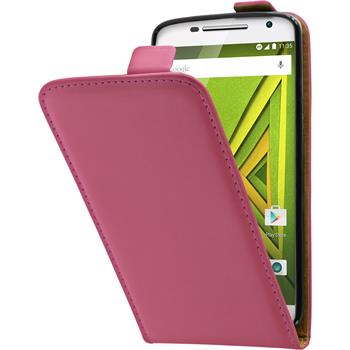 Artificial Leather Case for Motorola Moto X Play Flip-Case hot pink