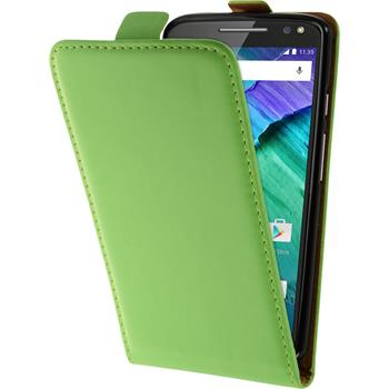 Artificial Leather Case for Motorola Moto X Style Flip-Case green