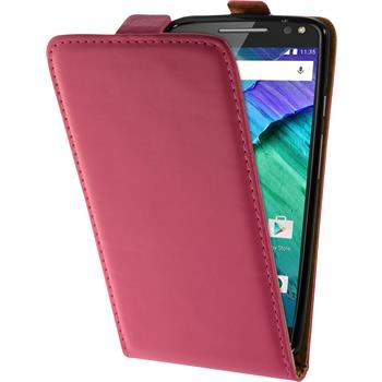 Artificial Leather Case for Motorola Moto X Style Flip-Case hot pink