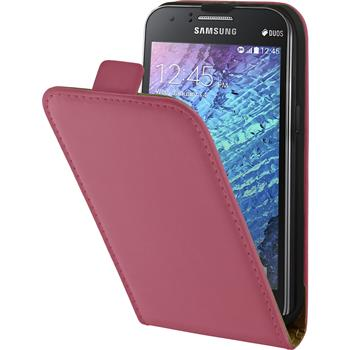 Artificial Leather Case for Samsung Galaxy J1 Flipcase hot pink