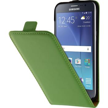 Artificial Leather Case for Samsung Galaxy J2 Flip-Case green