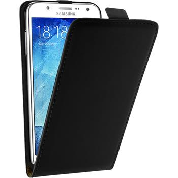 Artificial Leather Case for Samsung Galaxy J5 (J500) Flip-Case black + protective foils