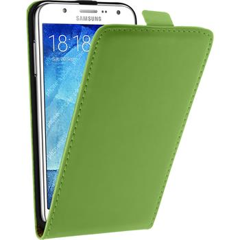Artificial Leather Case for Samsung Galaxy J5 (J500) Flip-Case green + protective foils