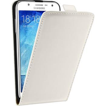 Artificial Leather Case for Samsung Galaxy J5 (J500) Flip-Case white + protective foils