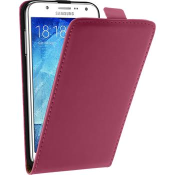 Artificial Leather Case for Samsung Galaxy J7 Flipcase hot pink