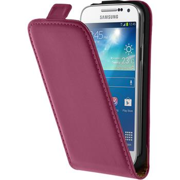 Artificial Leather Case for Samsung Galaxy S4 Mini Flipcase hot pink