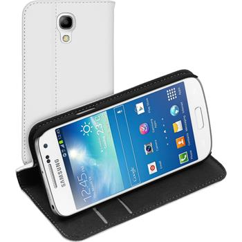 Artificial Leather Case for Samsung Galaxy S4 Mini Plus Bookstyle white