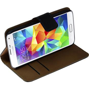 Artificial Leather Case for Samsung Galaxy S5 mini Wallet black
