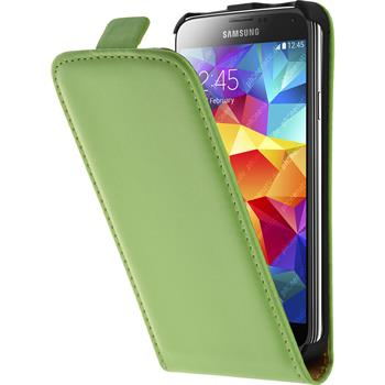 Artificial Leather Case for Samsung Galaxy S5 mini Flipcase green
