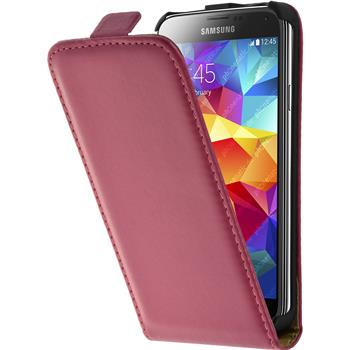 Artificial Leather Case for Samsung Galaxy S5 mini Flipcase hot pink
