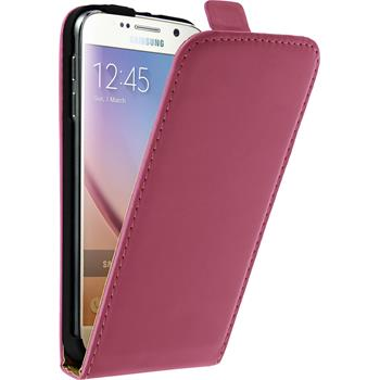 Artificial Leather Case for Samsung Galaxy S6 Flipcase hot pink