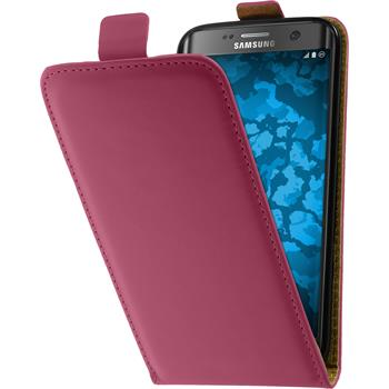 Artificial Leather Case for Samsung Galaxy S7 Edge Flip-Case hot pink