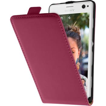 Artificial Leather Case for Sony Xperia C4 / Dual Flipcase hot pink
