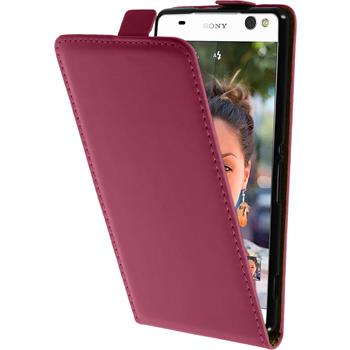 Artificial Leather Case for Sony Xperia C5 Ultra Flipcase hot pink