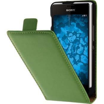 Artificial Leather Case for Sony Xperia E1 Flip-Case green