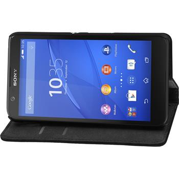 Artificial Leather Case for Sony Xperia E4 Bookstyle black