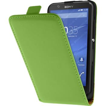 Artificial Leather Case for Sony Xperia E4 Flipcase green