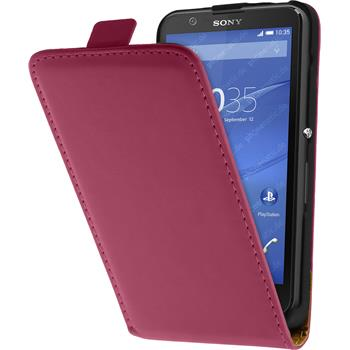 Artificial Leather Case for Sony Xperia E4 Flipcase hot pink