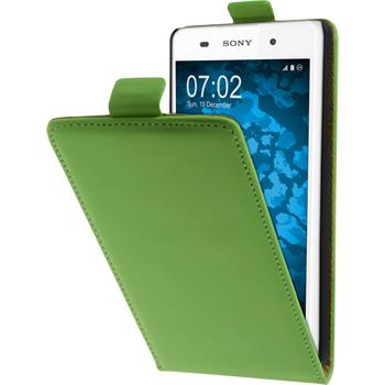 Artificial Leather Case for Sony Xperia E5 Flip-Case green + protective foils