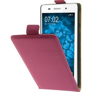 Artificial Leather Case for Sony Xperia E5 Flip-Case hot pink + protective foils