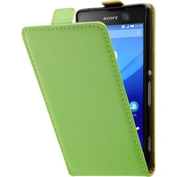 Artificial Leather Case for Sony Xperia M5 Flip-Case green