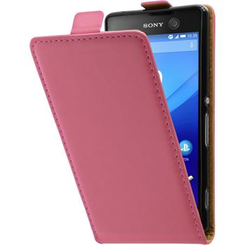 Artificial Leather Case for Sony Xperia M5 Flip-Case hot pink