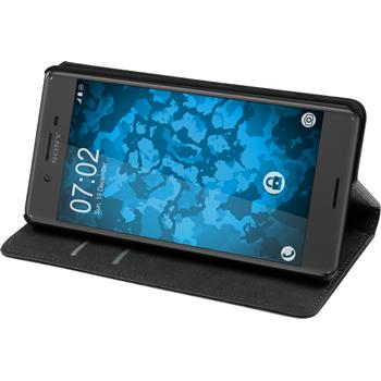 Artificial Leather Case for Sony Xperia X Bookstyle black + protective foils