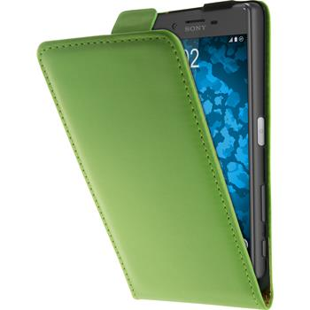 Artificial Leather Case for Sony Xperia X Flip-Case green + protective foils