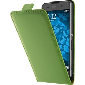Artificial Leather Case for Sony Xperia XA Flip-Case green + protective foils