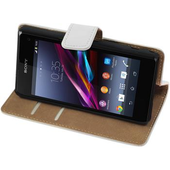 Artificial Leather Case for Sony Xperia Z1 Compact Wallet white