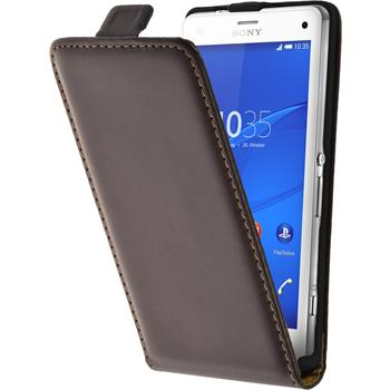 Artificial Leather Case for Sony Xperia Z3 Compact Flipcase brown