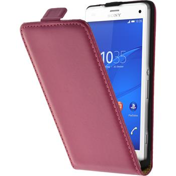 Artificial Leather Case for Sony Xperia Z3 Compact Flipcase hot pink