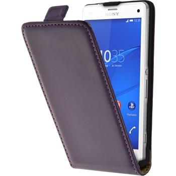 Artificial Leather Case for Sony Xperia Z3 Compact Flipcase purple